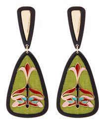 Anna E Alex | Gold-plated Libellule Decò Silk Enamel Drop Earrings | Lyst