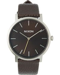 Nixon - Porter Leather Dark Cedar Brown Watch - Lyst