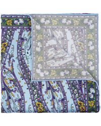 Liberty Knutsford Printed Silk Pocket Square - Blue