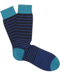 Pantherella Scher Stripe Socks - Blue