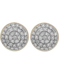 Monica Vinader - Silver Diamond Ava Button Stud Earrings - Lyst
