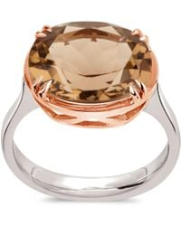 Dinny Hall - Silver And Rose Gold Cassiopeia Smoky Quartz Ring - Lyst