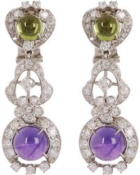 Kojis - White Gold Suffragette Gemstone Clip-on Earrings - Lyst
