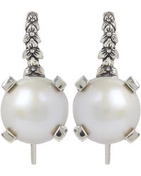 Stephen Dweck Silver Mabe Pearl Drop Earrings