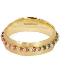 Polly Wales - Gold Rainbow Sapphire Pinched Eternity Ring - Lyst