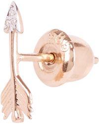 Kismet by Milka - Gold Arrow White Diamond Small Single Stud Earring - Lyst