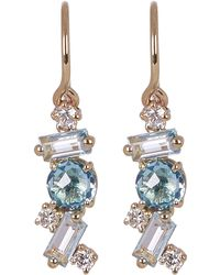 Suzanne Kalan - Gold Paraiba Topaz Diamond Drop Earrings - Lyst