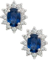 Kojis - White Gold Sapphire And Diamond Cluster Stud Earrings - Lyst