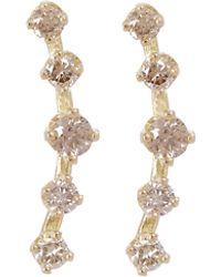 Satomi Kawakita - Gold Threaded Cluster Brown Diamond Stud Earrings - Lyst