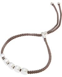 Monica Vinader - Silver Linear Bead Cord Friendship Bracelet - Lyst