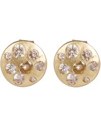 Polly Wales - Gold White Sapphire Disc Stud Earrings - Lyst