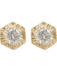 Satomi Kawakita - Gold Baby Hexagon White Diamond Stud Earrings - Lyst