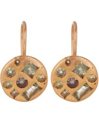 Polly Wales - Gold Celeste Sapphire Crystal Disc Earrings - Lyst