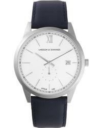 Larsson & Jennings - Saxon 39mm Silver-white Leather Watch - Lyst