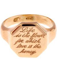 Annina Vogel - Gold Engraved Hexagonal Signet Ring - Lyst