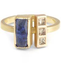Brooke Gregson - Gold Ziggurat Tanzanite Diamond Ring - Lyst
