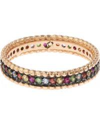 Kismet by Milka - Rose Gold Multicolour Eternity Ring - Lyst