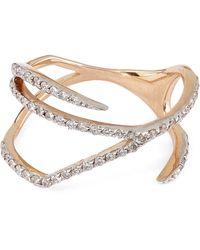 Kismet by Milka - White Diamond Zebra Pinky Ring - Lyst