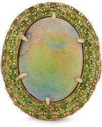 Kojis - Gold Black Opal And Demantoid Garnet Cluster Ring - Lyst
