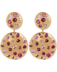 Polly Wales - Rose Gold Celeste Pink Crystal Double Disc Earrings - Lyst