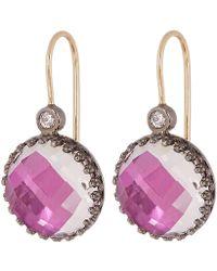 Larkspur & Hawk - Rhodium-washed Silver Olivia Button White Quartz Diamond Earrings - Lyst