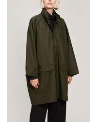 Eskandar Hooded A-line Raincoat - Green