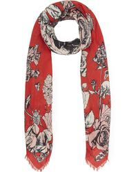 Alexander McQueen - Crawling Roses Square Silk Scarf - Lyst