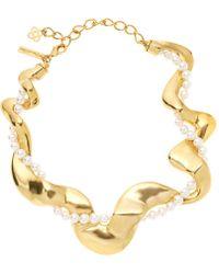 Oscar de la Renta - Gold-tone Pearl Curve Necklace - Lyst