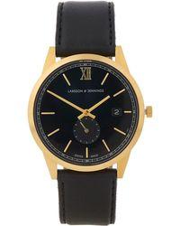 Larsson & Jennings - Saxon 39mm Black-gold Leather Watch - Lyst
