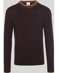 Paul Smith - Striped Neck Trim Cotton Knit - Lyst