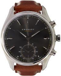 Kronaby - Sekel Stainless Steel Leather Strap Watch - Lyst