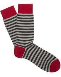 Pantherella - Harrow Stripe Contrast Heel Wool Socks - Lyst