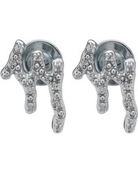 Monica Vinader - Silver Riva Waterfall Diamond Stud Earrings - Lyst