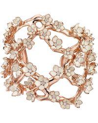 Shaun Leane Rose Gold Vermeil Cherry Blossom Diamond Flower Cuff Bracelet - Metallic