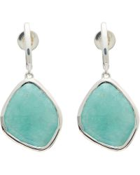 Monica Vinader - Silver Amazonite Large Nugget Earrings - Lyst