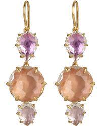 Larkspur & Hawk - Gold-dipped White Quartz Caterina Three Drop Earrings - Lyst