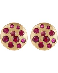 Polly Wales - Gold Celeste Red Crystal Disc Stud Earrings - Lyst