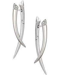 Shaun Leane - Silver And Diamond Crossover Tusk Earrings - Lyst