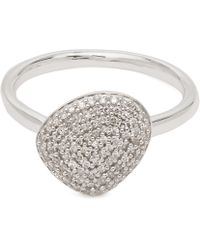 Monica Vinader - Silver Nura Pebble Diamond Stacking Ring - Lyst