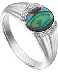 Astley Clarke - Silver Luna Abalone Sapphire Signet Ring - Lyst