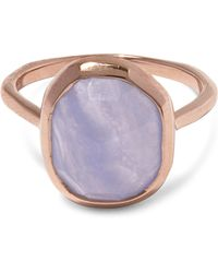Monica Vinader - Rose Gold-plated Blue Lace Agate Medium Siren Stacking Ring - Lyst