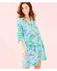b4bb4c9783d Lilly Pulitzer Fulton Open Shoulder Tunic Dress in Metallic - Lyst