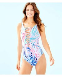 dfbc3199345 Lilly Pulitzer Plumeria One Piece Swimsuit in Blue - Lyst