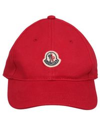 Moncler - Red Cotton Twill Cap - Lyst