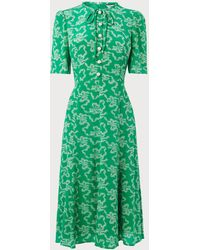 L.K.Bennett - Montana Green Bow Print Dress - Lyst