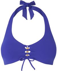 L.K.Bennett - Claudia Blue Halter Underwired Bikini Top - Lyst