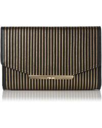 L.K.Bennett - Zadie Black Gold Leather Shoulder Bag - Lyst