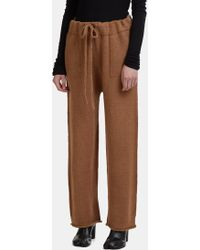 Lauren Manoogian | Straight Leg Knit Track Trousers In Light Brown | Lyst