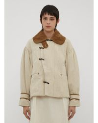 Renli Su - Striped Boxy Jacket In Beige - Lyst