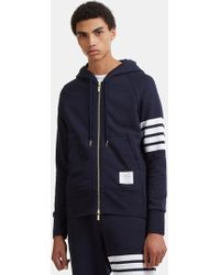 Thom Browne - Men's 4 Bar Hooded Jumper In Navy - Lyst